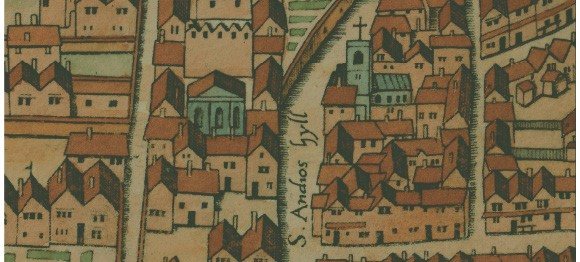 St Andrew by the Wardrobe and Blackfriars. Base image: drawing of Copperplate map © Museum of London.
