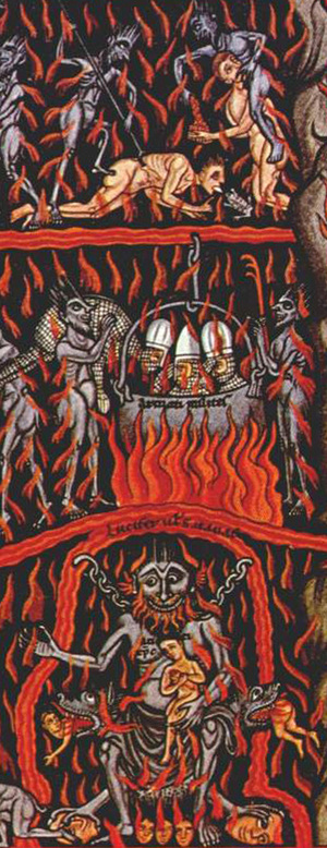 Segment of 'Hell' from the Hortus Deliciarum, a manuscript compiled 1167-1185 by Abess Herrad of Landsberg. This version is a copy of 1818 by Christian Maurice Engelhardt.