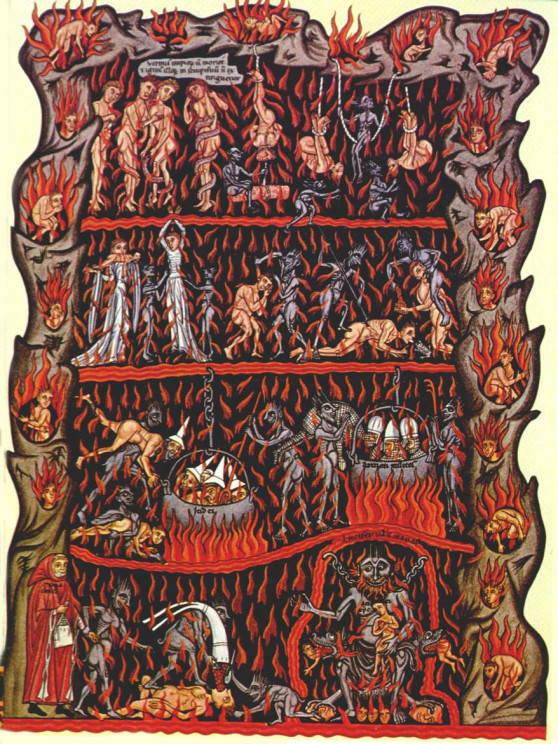 'Hell' from the Hortus Deliciarum, a manuscript compiled 1167-1185 by Abess Herrad of Landsberg. This version is a copy of 1818 by Christian Maurice Engelhardt.